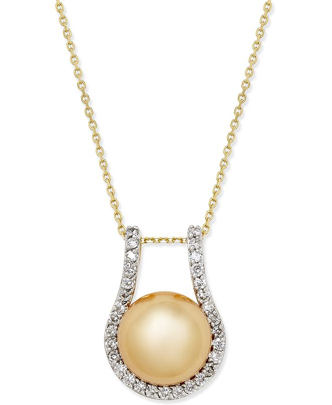 Macy's Cultured Golden South Sea Pearl (12mm) and Diamond (5/8 ct. t.w.) Pendant Necklace in 14k Gold