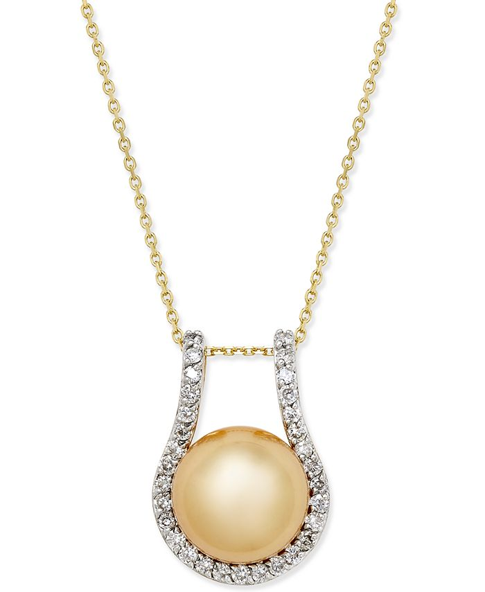 Macy's - Cultured Golden South Sea Pearl (12mm) and Diamond (5/8 ct. t.w.) Pendant Necklace in 14k Gold
