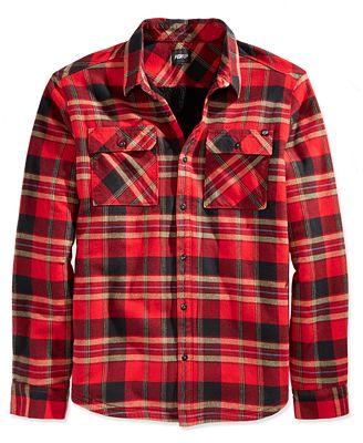 Fox Men's Glamper Flannel Shirt - Casual Button-Down Shirts - Men ...