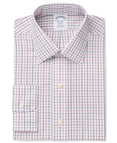 Brooks Brothers Men's Regent Classic/Regular Fit Non-Iron Red Checked Dress Shirt