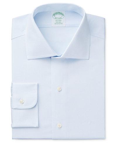 Brooks Brothers Men's Milano Extra-Slim Fit Non-Iron Diamond Light Blue Solid Dress Shirt