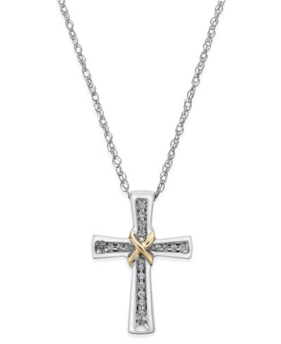 Diamond Cross Pendant Necklace (1/10 ct. t.w.) in Sterling Silver and 14k Gold-Plate