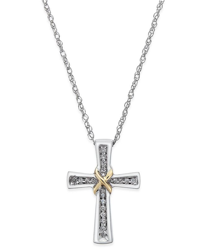 Macy's Diamond Cross Pendant Necklace (1/10 ct. t.w.) in Sterling Silver and 14k Gold-Plate