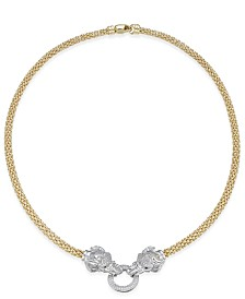 Diamond (5/8 ct. t.w.) Pavé and Emerald Accent Elephant Mesh Necklace in 14k Gold-Plated Sterling Silver