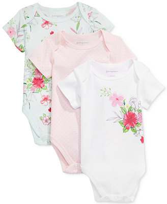 3 Pk. Dots & Flowers Bodysuits, Baby Girls, Created For Macy's by First Impressions