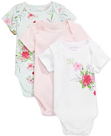 First Impressions Baby Girls 3-Pk. Dots & Flowers Bodysuits, Created for Macy's