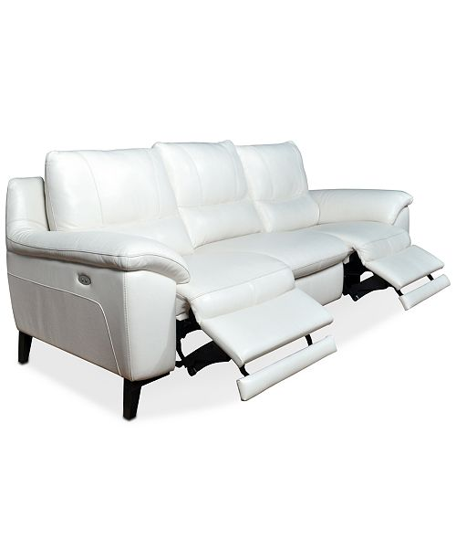 Leather Sectional Sofa With 3 Power Recliners: Furniture Stefana 3-Pc. Leather Sectional Sofa With 2