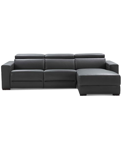 Furniture Nevio 3 Pc Leather Sectional Sofa With Chaise 2