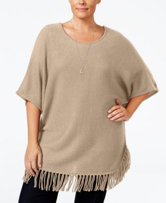 NY Collection Plus Size Knit Fringe Poncho Sweater