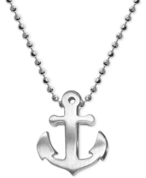 Image of Alex Woo Anchor Beaded Pendant Necklace in Sterling Silver