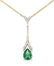 RARE Featuring GEMFIELDS Certified Emerald (1 ct. t.w.) and Diamond (1/8 ct. t.w.) Teardrop Lariat Necklace in 14k Gold