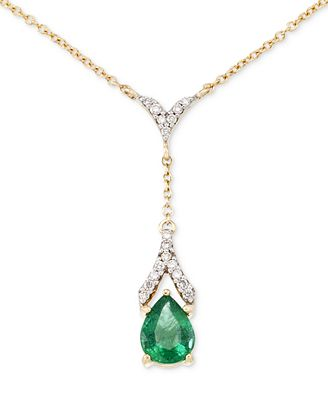 RARE Featuring GEMFIELDS Certified Emerald (1 ct. t.w.) and Diamond (1/8 ct. t.w.) Teardrop Lariat N...