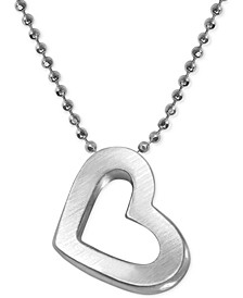 Heart Beaded Chain Pendant Necklace in Sterling Silver