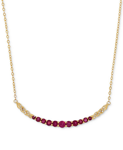 Certified Ruby (1-3/8 ct. t.w.) and Diamond Accent Graduated Collar Necklace in 14k Gold