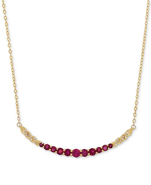 Macy's Certified Ruby (1-3/8 ct. t.w.) and Diamond Accent Graduated Collar Necklace in 14k Gold