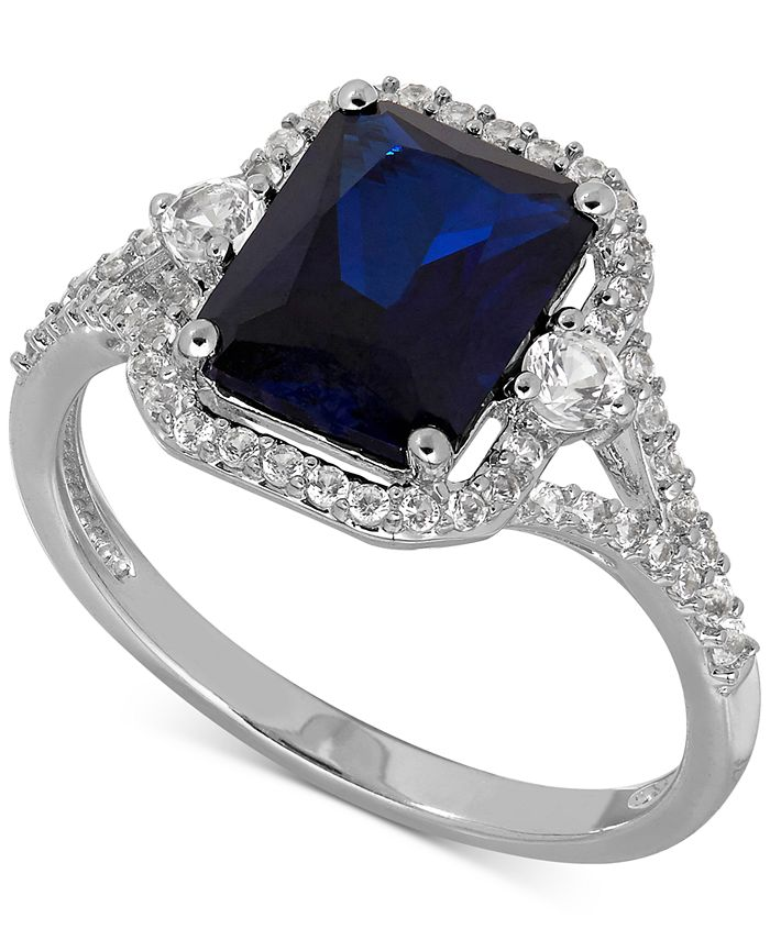 Macy's - Lab-Created Sapphire (3 ct. t.w.) and White Sapphire (3/8 ct. t.w.) Ring in Sterling Silver