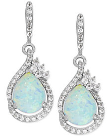 Lab-Created Opal (1-1/2 ct. t.w.) and White Sapphire (1/2 ct. t.w.) Drop Earrings in Sterling Silver