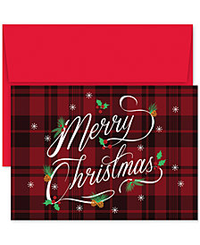 Masterpiece Plaid Merry Christmas  Set of 18 Boxed Greeting Cards and Envelopes