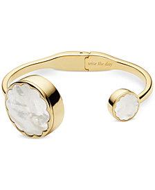 kate spade new york Women's Gold-Tone Stainless Steel Hinge Half-Bangle Bracelet Activity Tracker 26mm KSA31212