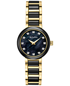 Bulova Women's Diamond Accent Black Ceramic and Gold-Tone Stainless Steel Bracelet Watch 30mm 98P159