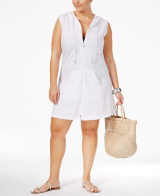 Dotti Plus Size Pretty Palm Hoodie Tunic Cover-Up