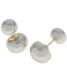 Dyed Gray Cultured Freshwater Pearl (8 & 12mm) Front and Back Earrings in 14k Gold