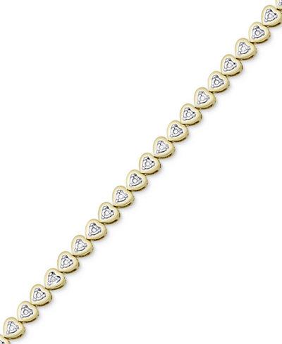 Diamond Heart Link Bracelet (1/4 ct. t.w.)