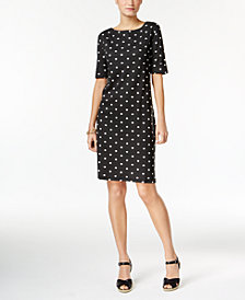 Karen Scott Petite Cotton Dot-Print Dress, Created for Macy's