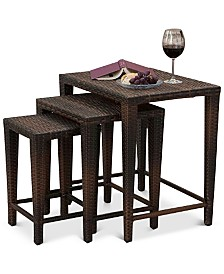Aldin Set of 3 Outdoor Wicker Nested Tables, Quick Ship