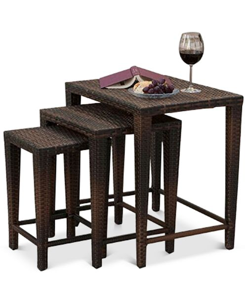 Noble House Aldin Set of 3 Outdoor Wicker Nested Tables, Quick Ship