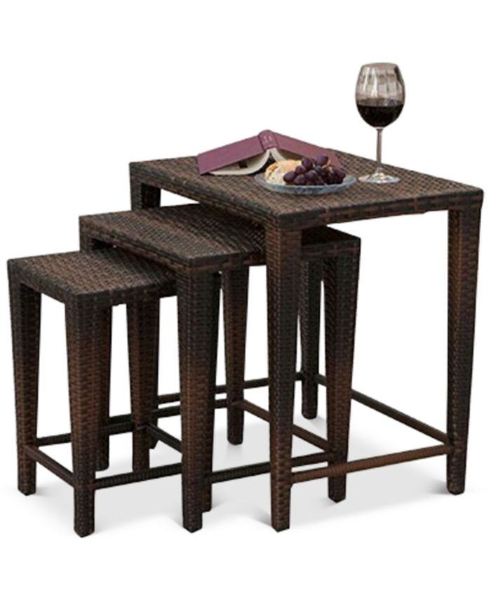 Noble House - Aldin Set of 3 Outdoor Wicker Nested Tables, Direct Ship