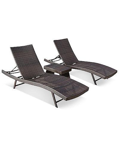 Aldin Wicker Chaise Lounge Set, Quick Ship