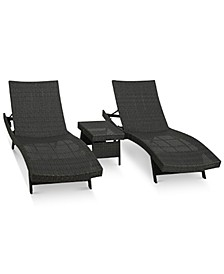 Aldin Outdoor Wicker Adjustable Chaise Lounge 3-Pc. Set