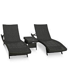 Aldin Outdoor Wicker Adjustable Chaise Lounge 3-Pc. Set, Quick Ship
