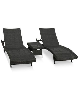 aldin outdoor wicker adjustable chaise lounge 3pc set quick ship