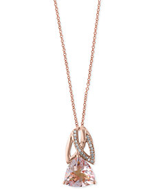 EFFY® Morganite (2-1/4 ct. t.w.) and Diamond Accent Pendant Necklace in 14k Rose Gold