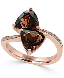 EFFY® Smoky Quartz (3-3/8 ct. t.w.) and Diamond Accent Bypass Ring in 14k Rose Gold