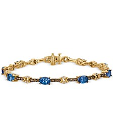 Le Vian® Chocolatier Tanzanite (3-1/6 ct. t.w.) and Diamond (1 ct. t.w.) Link Bracelet in 14k Gold