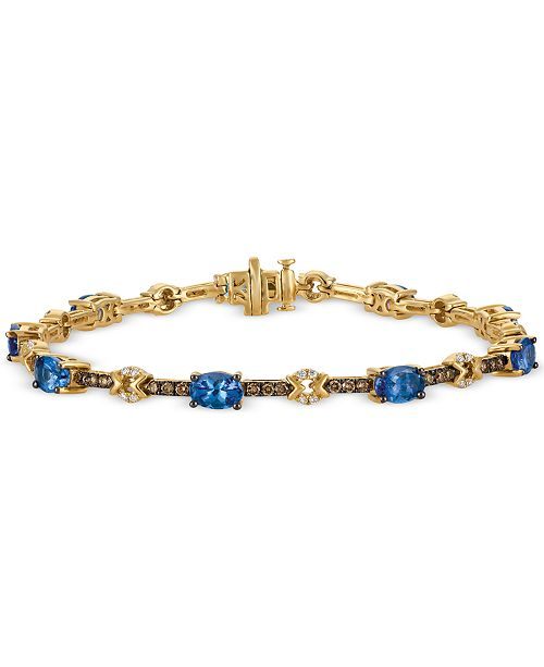 Le Vian Chocolatier Tanzanite (3-1/6 ct. t.w.) and Diamond (1 ct. t.w.) Link Bracelet in 14k Gold
