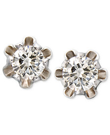 Children's 14k White Gold Earrings, Diamond Stud (1/8 ct. t.w.)