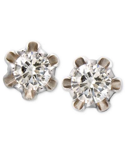 Children's 14k White Gold Earrings, Diamond Stud (1/8 ct. t.w.)