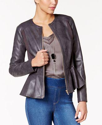 Thalia Sodi Faux-Leather Peplum Jacket, Created for Macy's