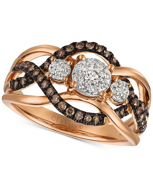 Le Vian Chocolatier Diamond Ring (3/8 ct. t.w.) in 14k Rose Gold (Also Available in Two-Tone White & Yellow Gold or White Gold)