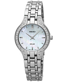 Seiko Women's Solar Diamond Accent Stainless Steel Bracelet Watch 27mm SUP333