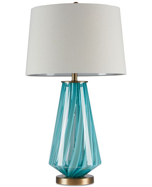 Ink Ivy Waves Blue Glass Table Lamp Lighting Lamps Home Macy S