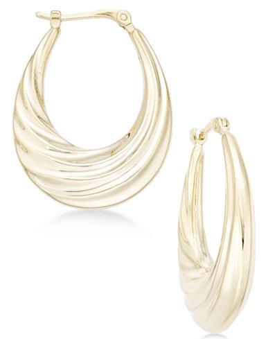 Deep Swirl Oval Hoop Earrings in 14k Gold