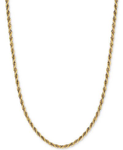 Two Tone Twisted Box Link Rope Chain Necklace In 14k Gold