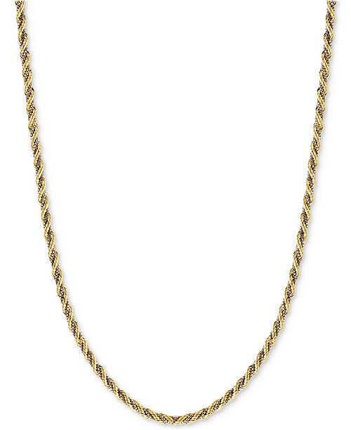 Italian Gold Two-Tone Twisted Box-Link Rope Chain Necklace (2-1/3mm) in 14k Gold and White Gold