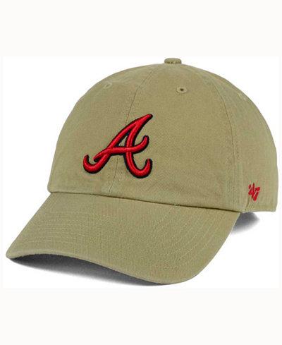 '47 Brand Atlanta Braves Khaki Clean UP Cap