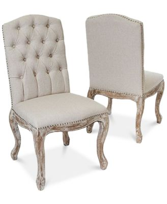 Palen Set Of 2 Tufted Hardwood Dining Chairs, Quick Ship